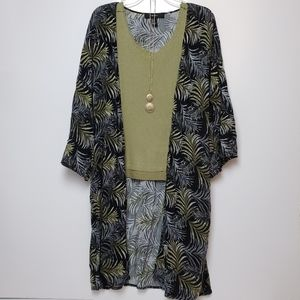 Forever 21 Palm Leaf Kimono Duster